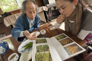 Yoshikazu Kawaguchi and Kaori Tsuji talk about Kawaguchi's natural farming methods (Photo: P.M. Lydon | Final Straw)