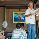 Farmer Hiromu Kohno discusses the intersection of farming and art at the [HUMAN:NATURE] symposium in Megijima, Japan.