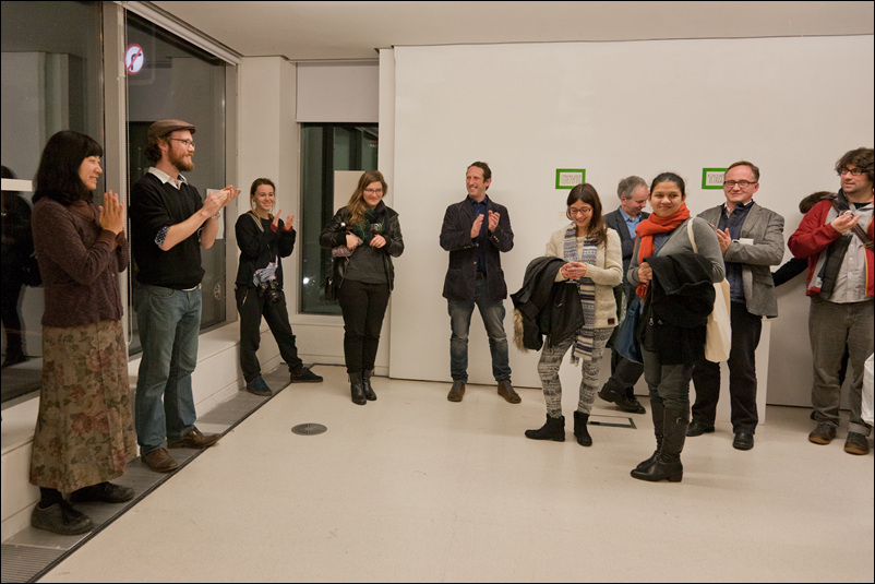 Suhee and Patrick speak at opening night of the Final Straw exhibition, November 26, 2013 at TENT Gallery, Edinburgh.