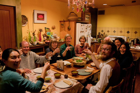 Dinner after the screening at Mino and Fusako's home