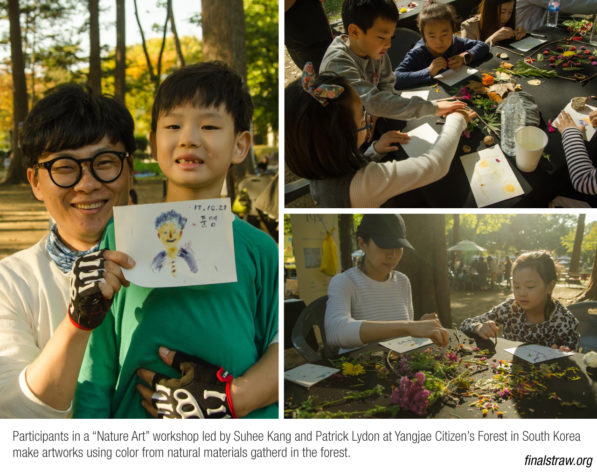 "Participants in a ""Nature Art"" workshop led by Suhee Kang and Patrick Lydon at Yangjae Citizen's Forest in South Korea make artworks using color from natural materials gatherd in the forest. (photos by SocieCity)"